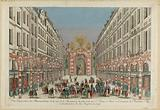 Perspective view of the illuminations of the rue de la feronnerie on the side of the rue St Denis in Paris on the …