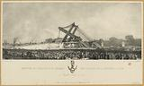 Erection of the Louqsor obelisk on the Place de la Concorde in Paris. 25 October 1836 at noon.