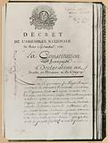 Decree of the National Assembly of 3 September 1791. The French Constitution.
