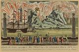 Superb fireworks display representing Mont St Bernard, erected and fired on the water in front of the Hotel de Ville …