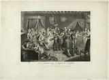 Plate for Scarron's Roman Comique: La Rancune cuts Ragottin's hat according to Dumont