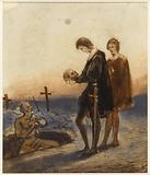 Hamlet scene in the cemetery