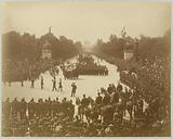 Parade of funeral wreaths arriving at Place de la Concorde from the Champs-Elysées, 1 June 1885