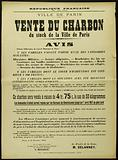 French Republic. Freedom – Equality – Fraternity. City of Paris. Sale of Coal from the City of Paris stock. Notice.