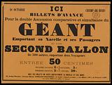 18 October. Champ-de -Mars. Here. Advance tickets. For the double comparative and simultaneous Ascension of the Giant.