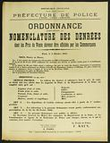 French Republic. Liberty – Equality-Fraternity. Police Department. 2nd Division – 3rd Office – Food.