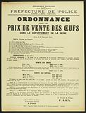 French Republic. Liberty – Equality-Fraternity. Police Department. 2nd Division – 3rd Office – Food. Order.