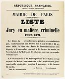 French Republic. Freedom, Equality, Fraternity. Paris City Hall. Criminal Jury List for 1871.