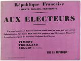 French Republic. Freedom, Equality, Fraternity. To the voters.
