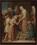 Sketch for the church of Saint-Eustache: Sainte Geneviève distributing bread to the poor