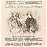 Balzac and other celebrities at Mme la Duchesse d'Abrantès. Drawing by Foulquier.