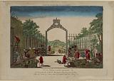 36th Vue d'Optique nouvelle, representative. The perspective of the Jardin des Marchands, at one of the gates of Paris.