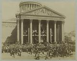 Funeral of Victor Hugo: canopy and wreaths of flowers in front of the entrance to the Pantheon, 1 June 1885
