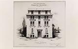 Drawing of the rear facade of the Hellenic Foundation, Cité internationale universitaire de Paris, 14th arrondissement
