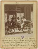 Portrait taken in the rue de Réjane in a horse-drawn carriage, actress (Gabrielle Réju, dame Porel dit)