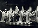 Five Siegels mannequins and fabrics