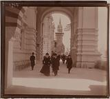 The rue des Nations under the arcades along the Quai d'Orsay, at the level of the pavilions of Turkey, the United …