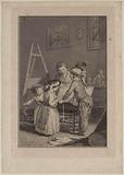 Young artists, children grouped around a drawing board