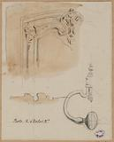 Details of the moldings and ironwork of a door, rue d'Enfer