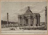 The triumphal arch or the throne built at the barrier of Vincennes for the entry of King Louis XIV and Mie. Therse.