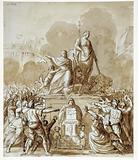 Allegorical composition: the people swearing loyalty on the tables of Human Rights and the Constitution