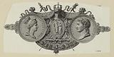 Portraits in medallion of Josephine and Napoleon on a background of coronation mantle and ornaments