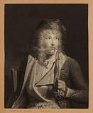 Young blond man smoking a pipe in Hungarian style, wearing a kind of police cap and wearing a hussar jacket, late 18th …