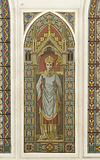 Stained glass window: figure of a bishop mounted on an aedicule
