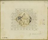 Stained glass project for Deliverance (quadrilobed medallion inscribed in a rectangle): ornaments, Pieta