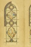 Stained glass project for Lourdes (single bay window): two historiated medallions (presentation of the tables of the …)