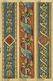 Decorative frieze: interlacing of bay leaves and acanthus leaves, red background