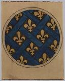 Decor project for a stained-glass window: fleur-de-lis in a frame