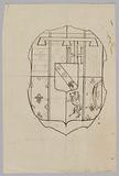 Project for a stained glass window with a heraldic motif