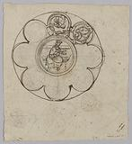 Decor project for a stained glass window: rose with crowned figure in the center