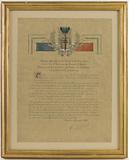 Certificate from the President of the Gprf setting out the reasons which led to Paris being awarded the Cross of the …