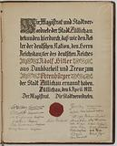Ehrenbürger diploma – honorary citizen – of the city of Züllichau, awarded to Adolf Hitler