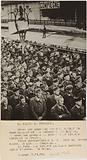 Propaganda photograph: Crowd of prisoners released on a platform at Compiègne station
