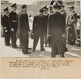 Propaganda photograph: Admiral Esteva, general resident in Tunisia is greeted by Mr Jardel, secretary general to the …