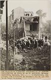 Propaganda photograph: crowd among the ruins after a bombardment, Courbevoie