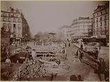 Construction of the underground subway placed under rue Oberkampf in the direction of Etoile station, 11th …
