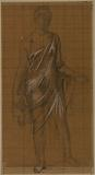 """Drapery study for the """"Woman draped in front, holding a child on the right hip"""""""