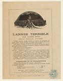 Flyer for the sale of the Terrible Year in the Michel Lévy edition, 1874