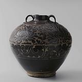 Ovoid jar with carved floral scrolls