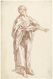 Model study of a standing girl with outstretched arm