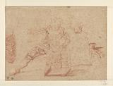 Sketches of a man, two hands and a piece of drapery