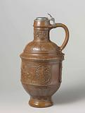 Jug with coats of arms and a pelican among griffins