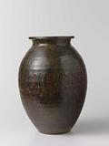 Ovoid jar with a brown black glaze