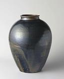 Ovoid jar with a blue black glaze