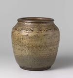 Ovoid jar with ornamental borders with roundels, cranes and dots