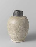 Ovoid jar with floral scrolls and silver mount